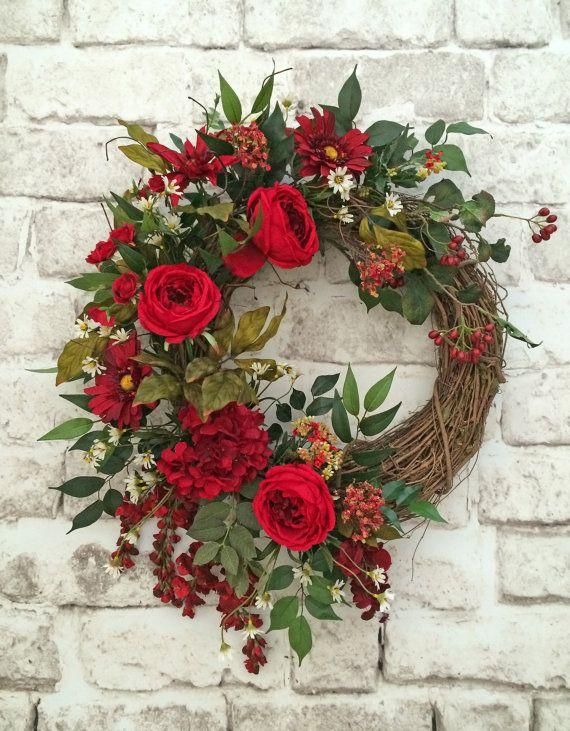 Good Red Summer Wreath For Door, Front Door Wreath, Silk Floral Wreath ,Summer  Door