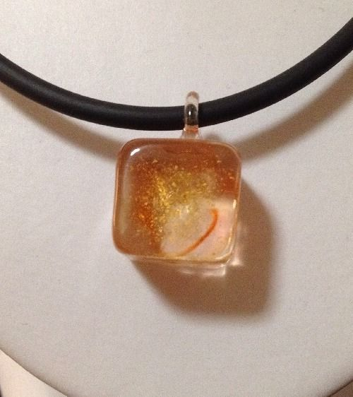 Pre Owned Black Rubber Necklace with Orange Glass Cube Pendant