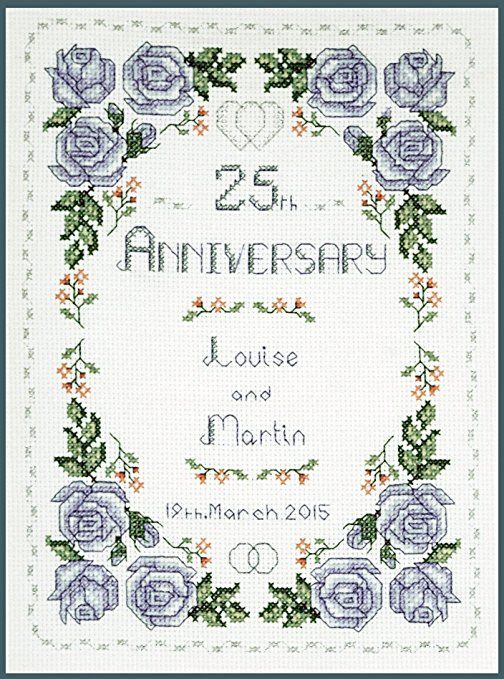 Roses Silver Wedding anniversary sampler - complete cross stitch kit on 14 aida with clear COLOUR chart