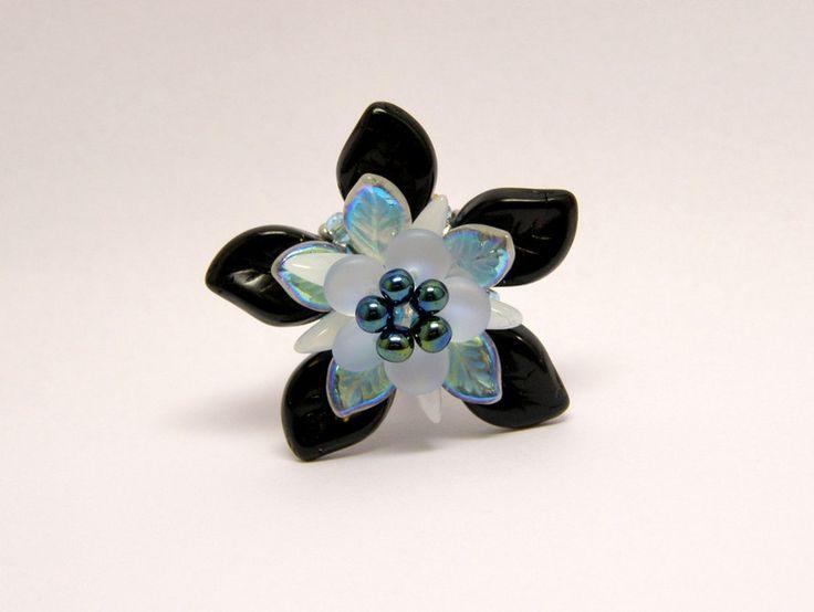 Glass Rings – Black leaf opal flower ring – a unique product by DarkEyedJewels on DaWanda