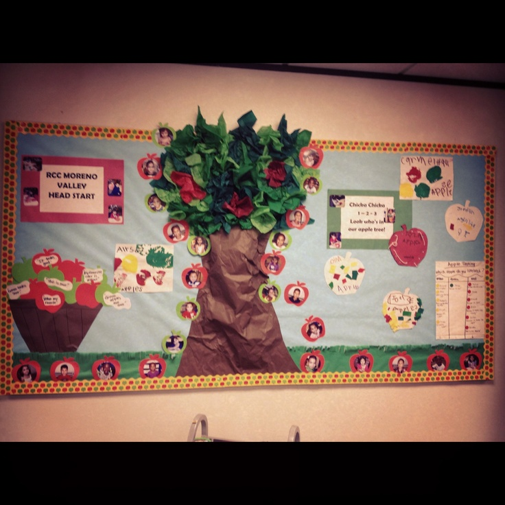 Apple tree bulletin board adapt it to say pick a great for Apple tree classroom decoration