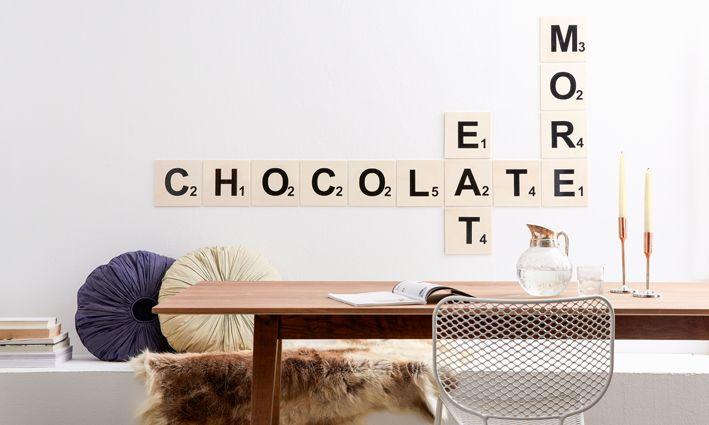 diy academy wand scrabble home pinterest kreative w nde fotocollagen und w nde. Black Bedroom Furniture Sets. Home Design Ideas