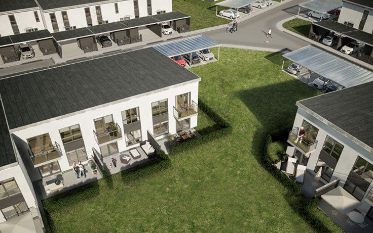 Nyopførte Lind & Risør rækkehuse på Langagergård i Karlslunde.