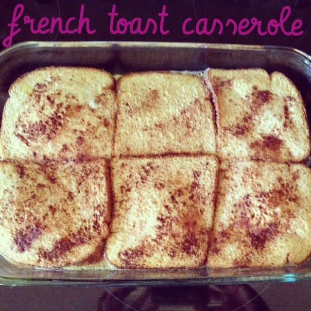 FRENCH TOAST CASSEROLE: 1/2 C melted butter,  1 C brown sugar,  12 slices of bread,  4 eggs,  1 1/2 C milk,  1 tsp vanilla,  cinnamon to taste,  45 min @ 350