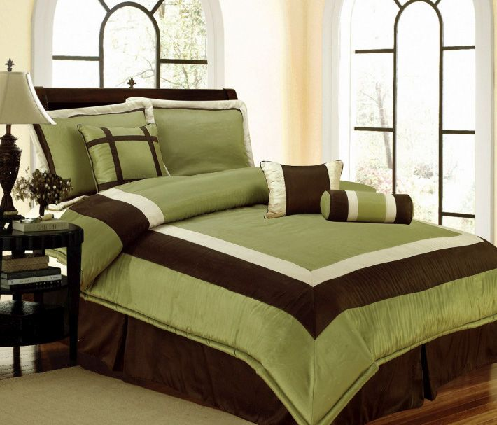 Details about new bedding sage green brown white hampton for Bedroom curtains and bedding