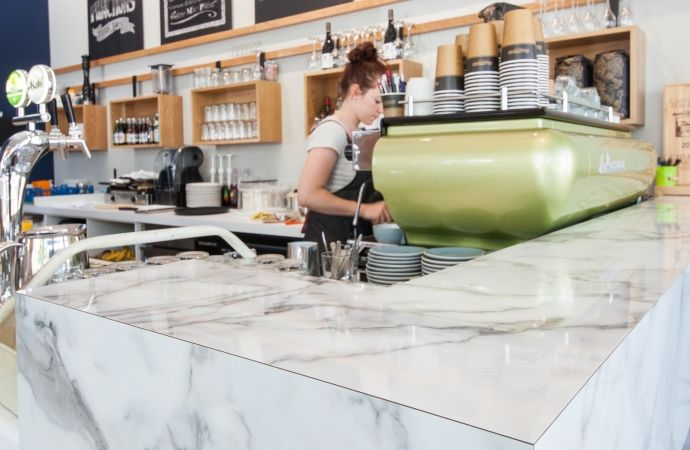 Cafe Biskit, Parnell, Auckland featuring Formica 180fx Carerra Marble