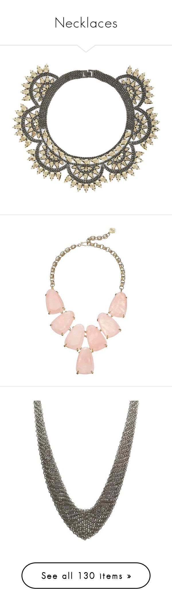 """""""Necklaces"""" by simoneannalivia ❤ liked on Polyvore featuring jewelry, necklaces, gunmetal, art deco necklaces, teardrop bib necklace, metal jewelry, bcbgmaxazria, bib necklaces, chunky chain necklaces and rose quartz pendant necklace"""