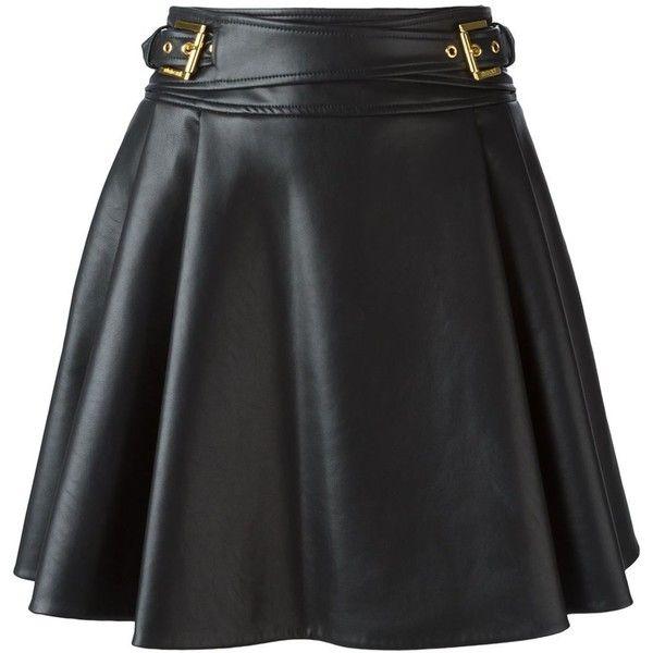 Roberto Cavalli Leatherette Flared Skirt ($1,011) ❤ liked on Polyvore featuring skirts, gonne, black, roberto cavalli skirts, leatherette skirt, black skater skirt, circle skirt and black knee length skirt