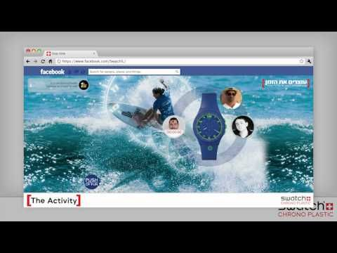 """Swatch Israel, Chrono Plastic collection in Israel. """"Push the button of fun"""".    To promote the new collection, Purple came up with 'Stop the Time'—a cool branded Facebook game where fans chose their favorite Swatch Chrono Plastic watch and kept their mouse button pushed on it. The longer they held onto the watch with their mouse, the greater their chance of winning it at the end of that week."""