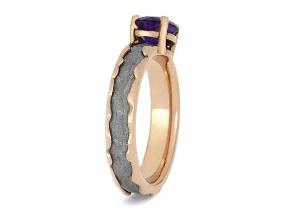 Anillo amatista meteorito anillo ondulado 14k oro rosa banda