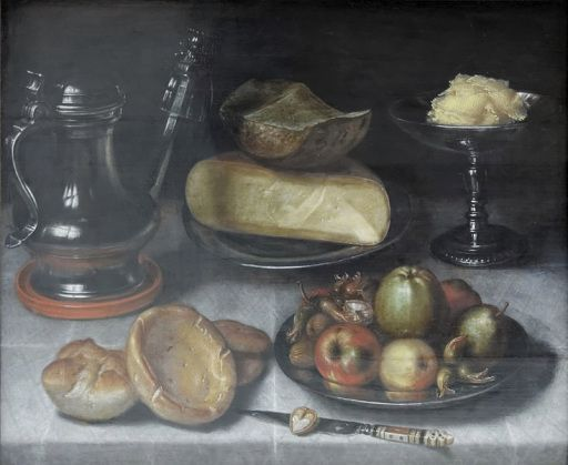 Floris van Dijck, Still life with pewter jug, fruit and cheese