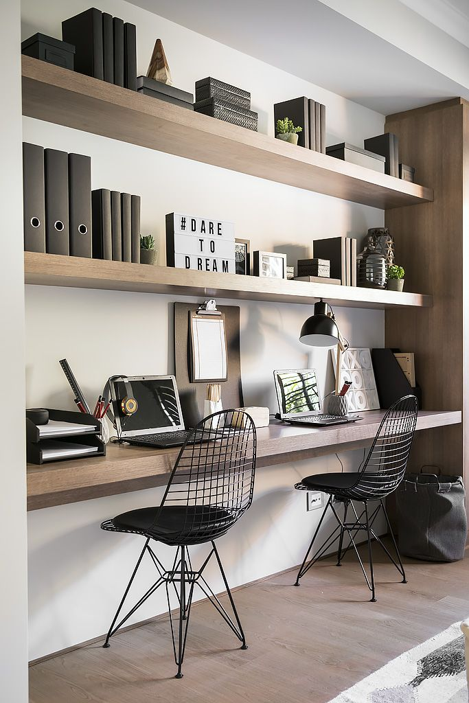 i like the use of long wood panels as a desk and shelving i wouldnt use those chairs though - Shelving Ideas For Living Room