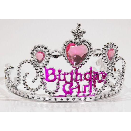 Zilveren verjaardags tiara voor kinderen. Zilveren tiara met de tekst: birthday girl. De tiara is geschikt voor kinderen en gemaakt van plastic.