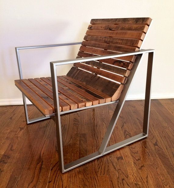 This chair is made of a mixture of reclaimed wood species. The Base is raw steel - it can me kept raw, clear coated, painted or powder coated