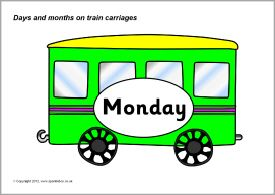 Days and months on train carriages (SB8570) - SparkleBox