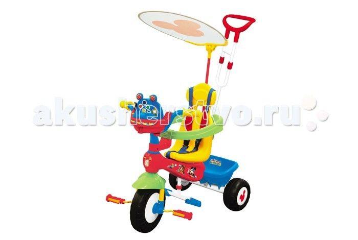 Велосипед трехколесный Kiddieland Микки Маус с ручкой  Велосипед трехколесный Микки Маус - замечательный детский велосипед. Такой велосипед обязательно понравится Вашему ребенку. С таким велосипедом не будет скучно на прогулке.   Характеристики: Подойдет для детей от 1 года Велосипед выполнен из высококачественных материалов Рама и ручка велосипеда металлические Козырек текстильный У велосипеда есть родительская ручка, которая управляет передним колесом Есть специальный барьер и фиксирующие…