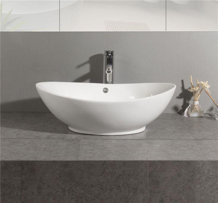 Bathroom Ceramic basin Porcelain Sink Vessel Vanity Bowl Pop Up  Counter Top USA #Unbranded