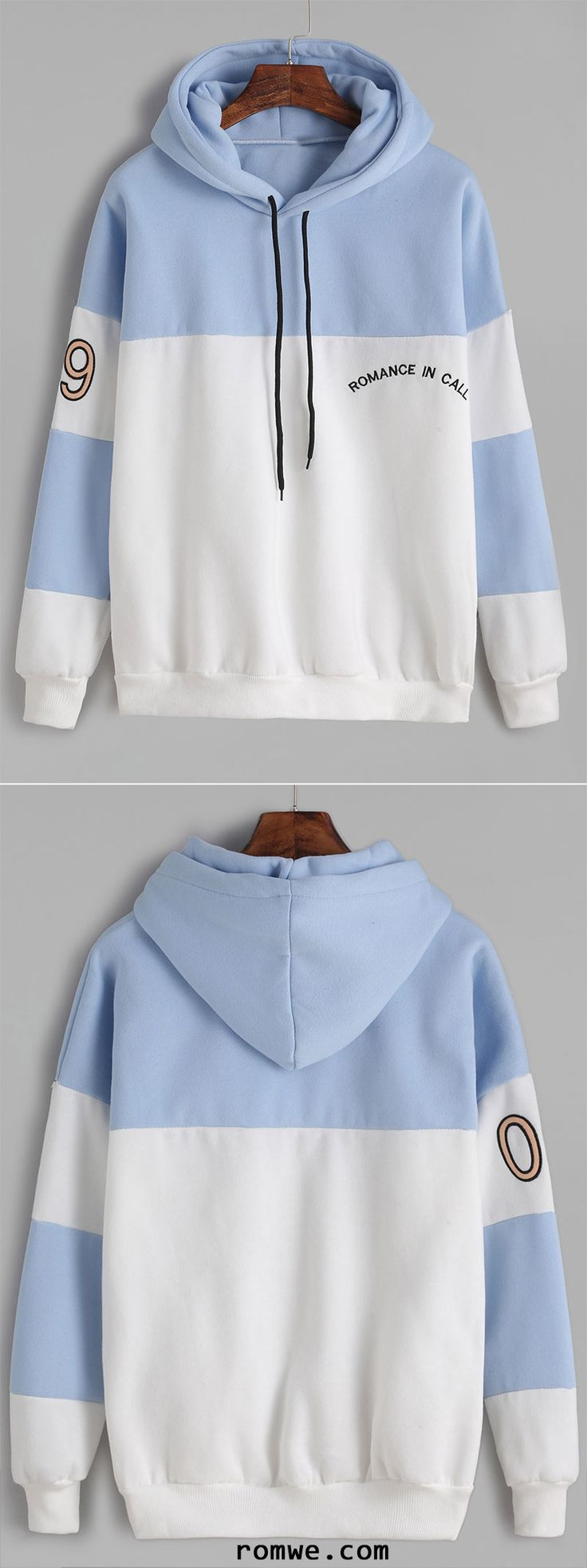 Color Block Number Letter Embroidery Hooded Sweatshirt http://amzn.to/2k2HTMQ
