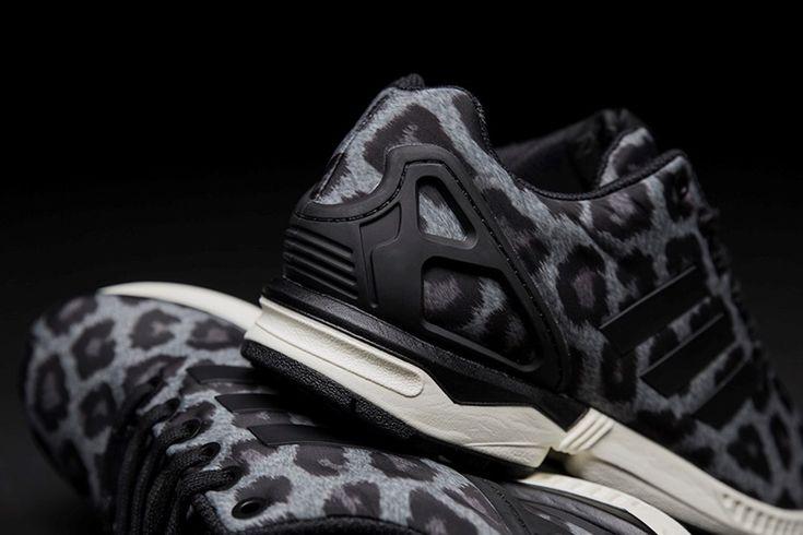 Womens Adidas ZX Flux Snow Leopard Print Sneakers Black1/Carbon M21667