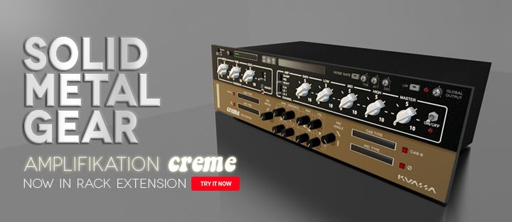 Amplifikation Creme Now In Rack Extension - Key Features : - 3 Amp Types - 2 Amp Channels: Clean and Lead - Built-in FX: Tremolo with BPM sync and authentic Spring Reverb - 5 types of matching cabinets with 4 microphone types - Freely adjustable dual-miking configurations - Built-in Noise Gate and Limiter - CV inputs for Global input-output, noise gate, FX, and amp - Straightforward and easy to use interface