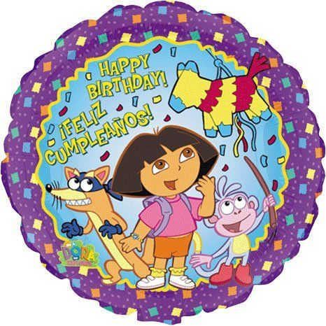 "Dora the Explorer Birthday 18in Balloon by Factory Card and Party Outlet. $2.36. Dora the Explorer Mylar Balloon is 18"" round. Features ""Happy Birthday"" and Feliz Compleanos"". NOTE: Balloon arrives uninflated.. Save 33% Off!"