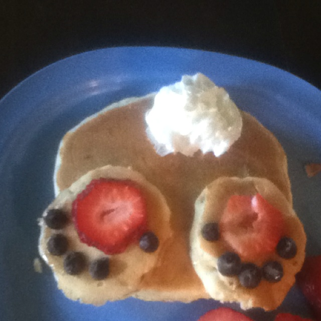I made bunny butt pancakes for my family on Easter Morning! He's Risen!! :)
