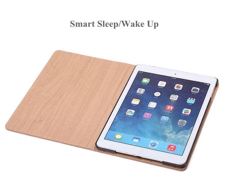Wood Texture PU+PC Smart Sleep Flip Kickstand Case For iPad Mini 1 2 3 7.9 Inch