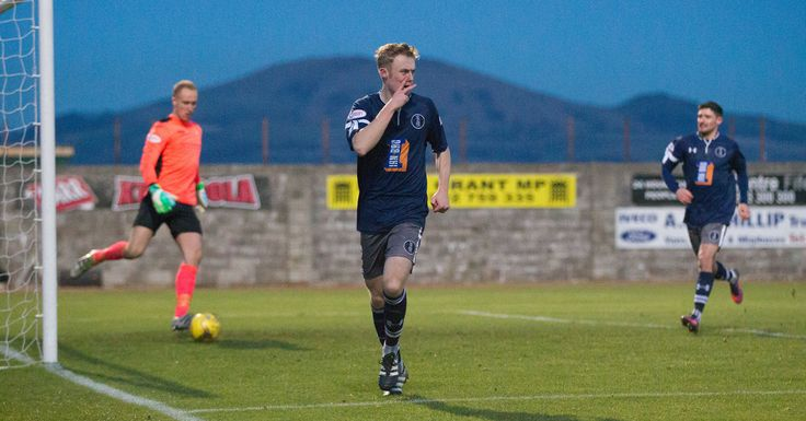 Queen's Park's Ross Millen celebrates his penalty winner during the Ladbrokes League One game between East Fife and Queen's Park.