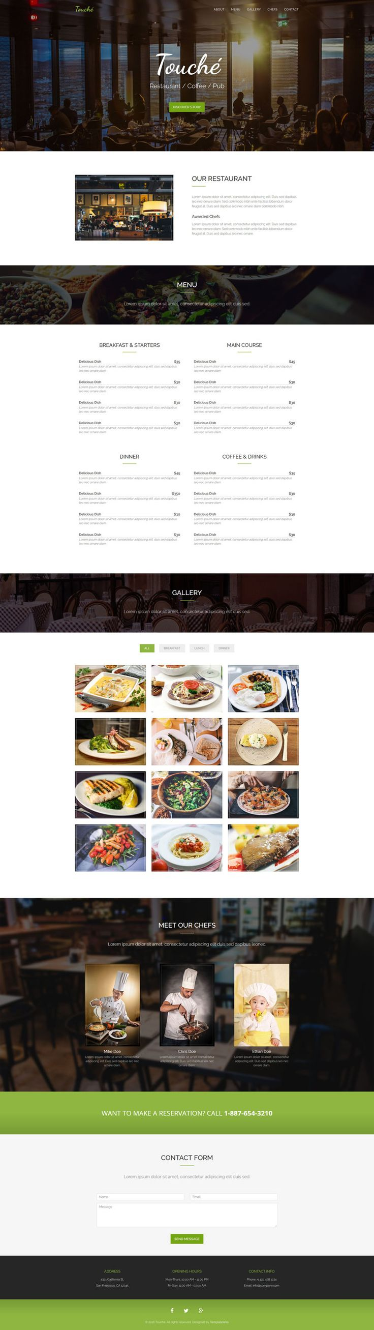 Touche - Restaurant Website Template - Free Download