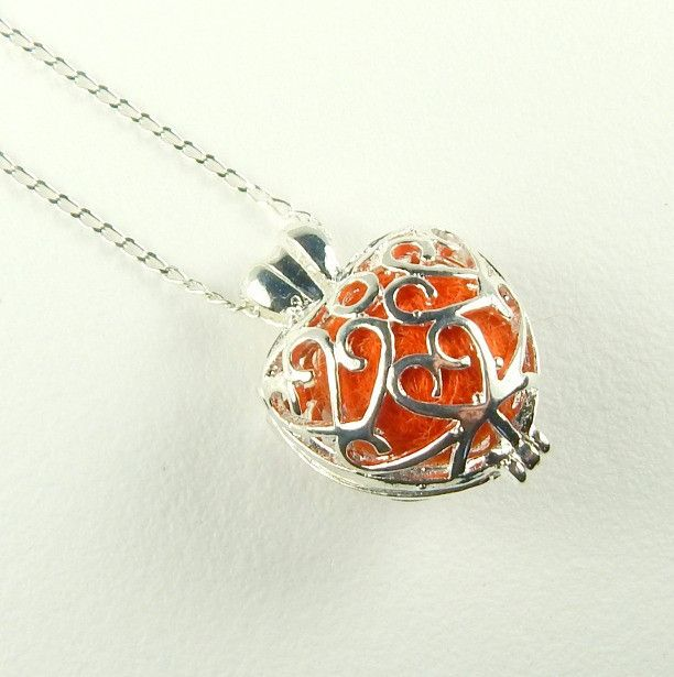 Red Heart Locket Aromatherapy Necklace In Silver