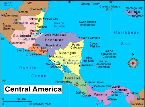 Latin America Capitals Map Map Central America With Capitals