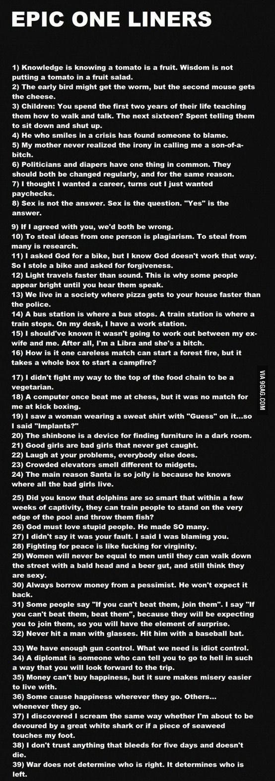 Epic one liners