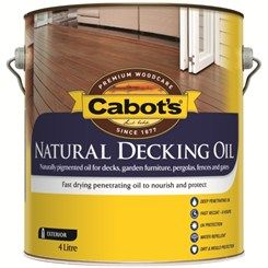Cabot's Natural Decking Oil is a fast drying penetrating oil that nourishes and protects the timber, providing a semi-transparent matt finish.