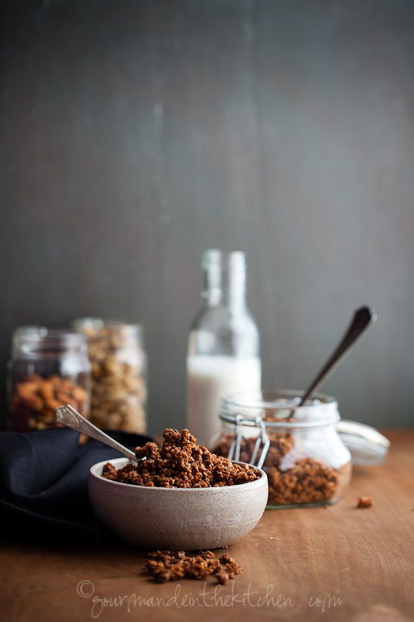 Gluten Free Grain Free Chocolate Granola Recipe INGREDIENTS 1 cup/ 112g raw walnuts 1 cup/112g raw almonds Pinch of fine sea salt ¼ cup/ 60g raw honey 3 Tablespoons/ 42g unsalted butter 3 Tablespoons/ 23g raw cacao or natural cocoa powder ½ tsp vanilla extract 2 Tablespoons/ 15 g chia seeds ½ cup/40g unsweetened shredded coconut 2 oz/60g bittersweet chocolate, coarsely chopped INSTRUCTIONS