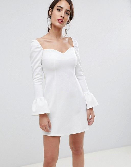 445d684507e737 ASOS DESIGN sweetheart mini dress with fluted sleeve