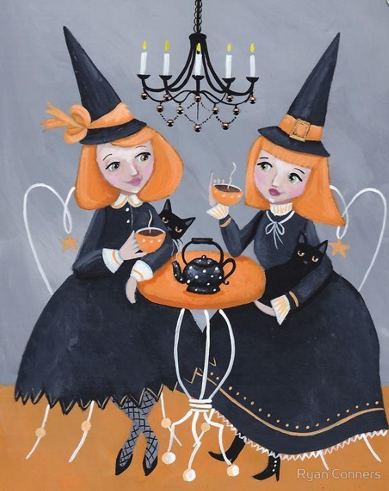witches tea party halloween cat folk art print by kilkennycatart