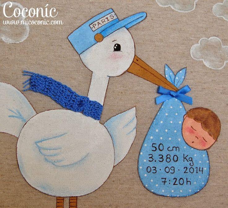 COCONIC: Cuadro infantil pintado a mano de cigüeña con bebé, totalmente personalizado. Ideal para regalar en el bautizo o nacimiento del bebé.