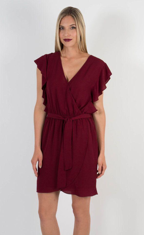 Crepe CDC Wrap Dress Maroon