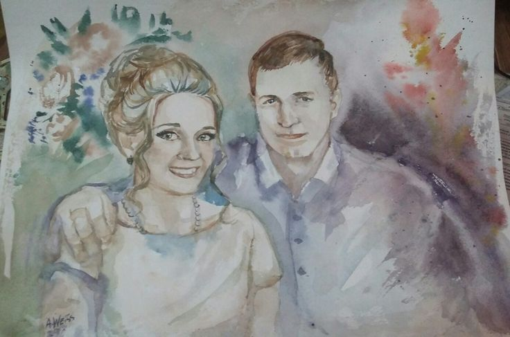 Watercolor painting. Custom portrait in my Etsy shop! Link in bio
