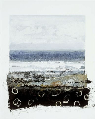 Kurt Jackson: Dawn Of A New Day, Start Of A New Year. 28 x 24 cm mixed media, collage and etching.