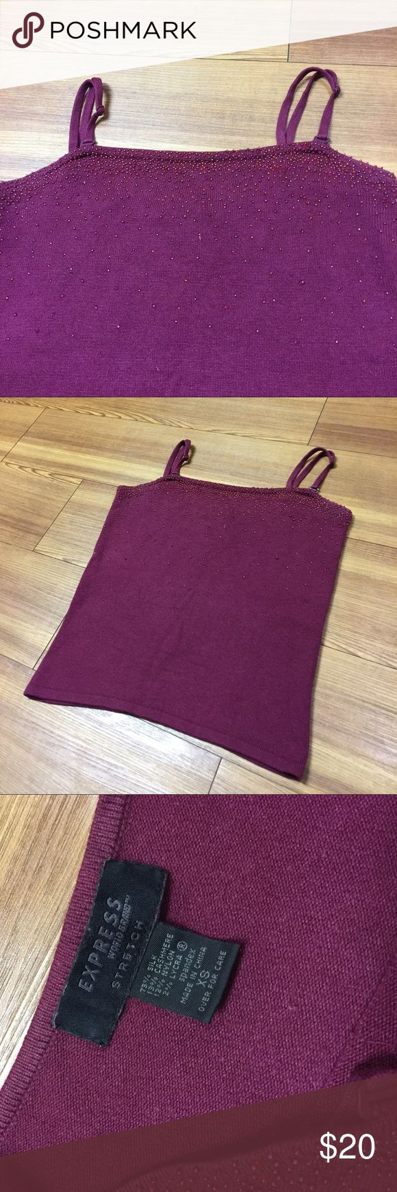 Express elegant spaghetti top Pretty plum color as it shows. Has many pretty petite beads. Adjustable shoulder straps. Silk and cashmere. Great condition. Express Tops Camisoles