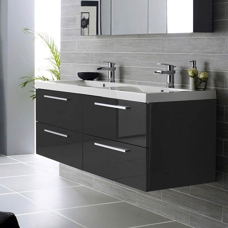 Hudson Reed Quartet Double Basin Vanity Unit - Gloss Black (1440mm Wide) features 4 large drawers and a stylish double basin top. Available now to buy at Victorian Plumbing UK