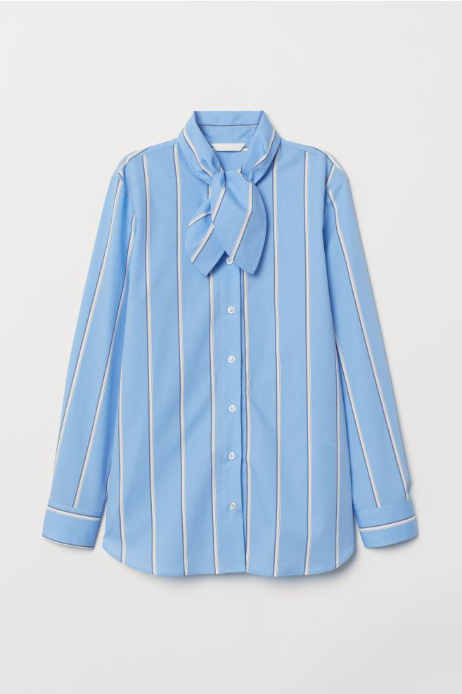 8215622884 H&M Shirt with Tie Collar - Blue in 2019 | ss'19 | Shirts, Collar ...