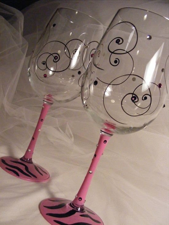 painted wine glasses with pink zebra print by
