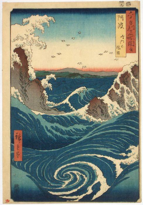 Japanese Art: Ukiyo-e. Whirlpool. Ichiryusai Hiroshige. 1855. - Gurafiku: Japanese Graphic Design