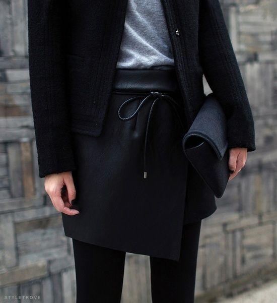Black leather wrap skirt. Via brown dress with white dots