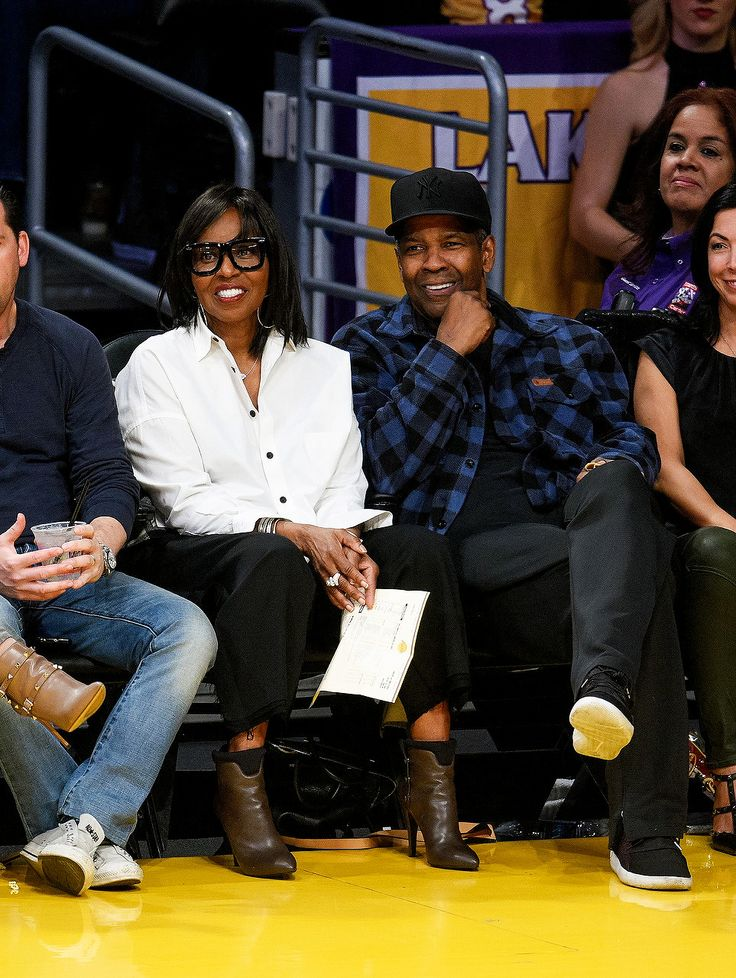 Denzel Washington and wife Pauletta attend L.A. Lakers