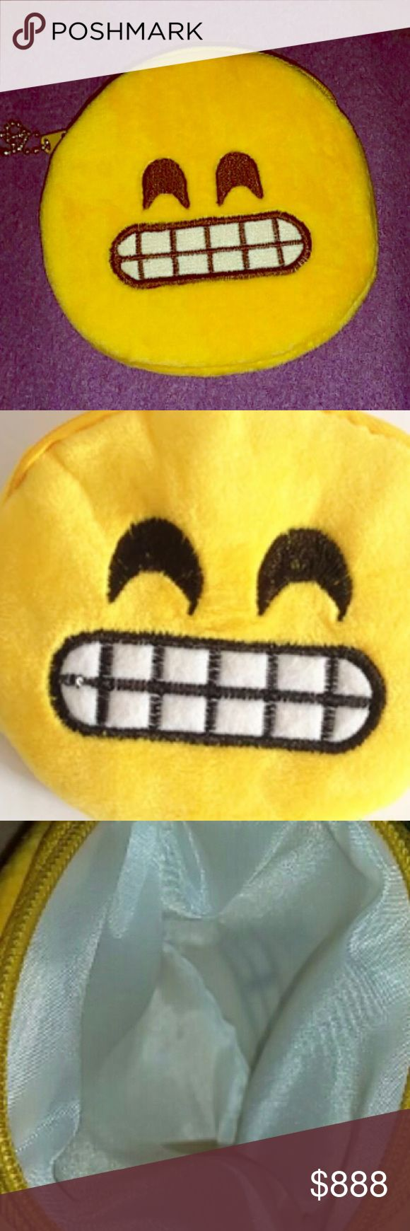 """wholesale CHEEZIN HAPPY FACE ICON KEY  PURSE SET OF 3 -MIX MATCH!   GET YOURS! Sooooo cute! Quality! Fluffy! Ahhhhhh! Bookmark as these will not last long! Sets of all 5 will be available, also! They are cotton 15.5 sq. inch around. 5"""" long w/circumference.. Zip top closure, optional key leash, show your emotion for the day carrying  this cute accessory!  U COUTURE Bags Wallets"""