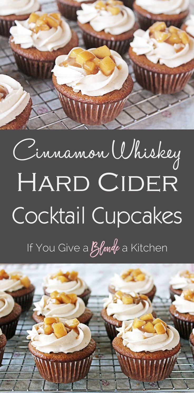 Hard cider cupcakes with cinnamon whisky frosting are filled with flavor, and alcohol. Fireball and Angry Orchard are infused in this spiced cupcake recipe | @haleydwilliams