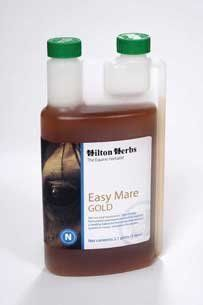 Hilton Herbs Easy Mare Gold 2 Pt by Hilton Herb. Save 8 Off!. $47.32. Use to help support a healthy, balanced hormonal system in mares throughout the year, throughout the season. Some geldings or stallions may benefit from this mix. For use in equines only. To support a normal hormonal and nervous system in mares. Vitex Agnus Castus, Valerian, Lemon Balm Herb, Milk Thistle Seed, Chamomile Flowers , Cramp Bark, Vervain Herb, Yarrow Herb; Apple Cider Vinegar.